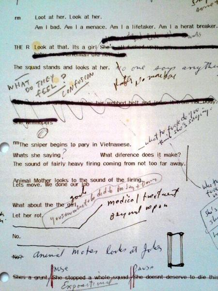 Fig. 10. Kubrick's personal copy of the Full Metal Jacket script.