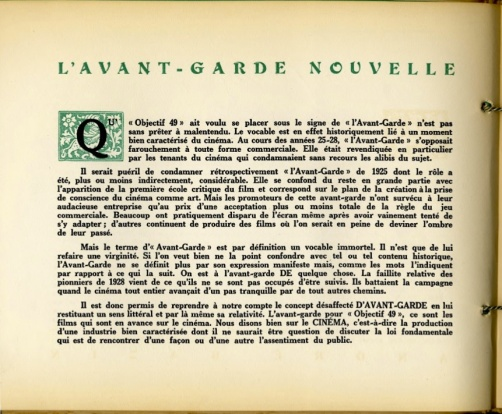 "Fig. 5. Bazin's ""Nouvelle avant-garde,"" in the Festival du film maudit catalogue."