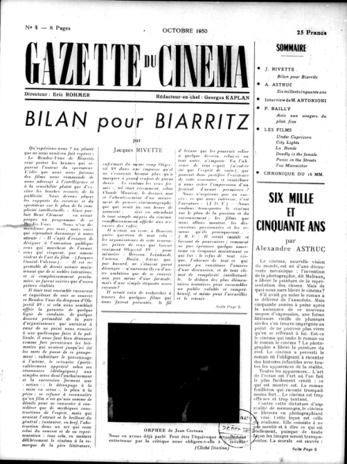 "Fig. 4. Rivette's ""Report on Biarritz,"" Gazette du cinéma (October 1950)."