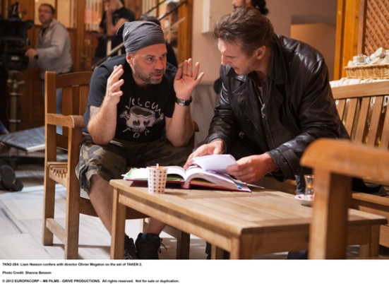 Fig. 10. Director Olivier Megaton, with Liam Neeson on the set of Taken 2.