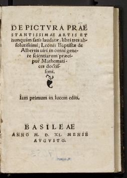 Fig. 2. Title page from Leon Battista Alberti, De Pictura (On Painting), 1540.